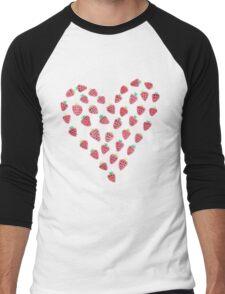 Strawberry Hearts Men's Baseball ¾ T-Shirt
