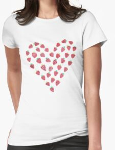 Strawberry Hearts Womens Fitted T-Shirt