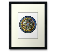 Bicycle Mandala in Blue Green and Yellow Framed Print