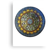 Bicycle Mandala in Blue Green and Yellow Canvas Print