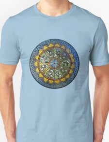 Bicycle Mandala in Blue Green and Yellow T-Shirt