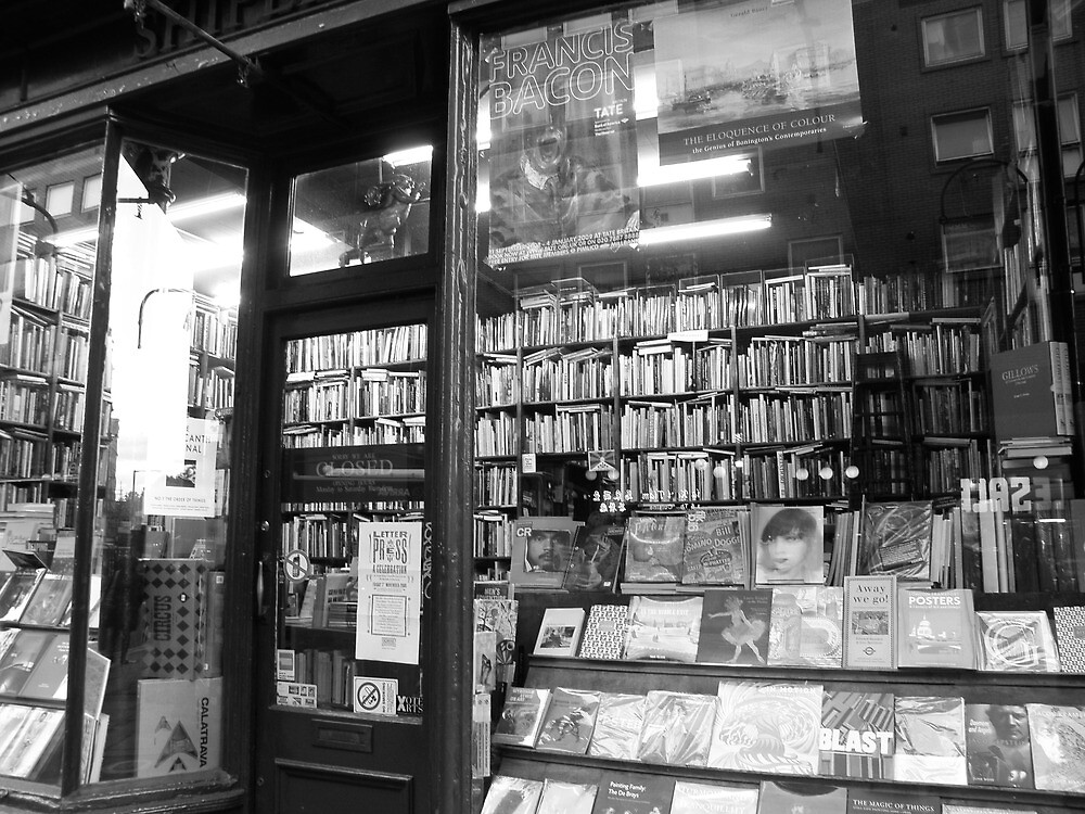 london bookstore in black and white by TIQA