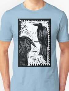 Black Birds Original Hand Pulled Linoleum Print Unisex T-Shirt