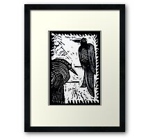 Black Birds Original Hand Pulled Linoleum Print Framed Print