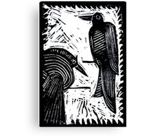 Black Birds Original Hand Pulled Linoleum Print Canvas Print