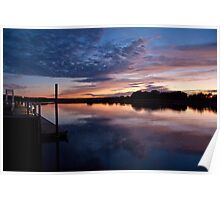Stonybrook Harbor Sunset and dock - New York  Poster