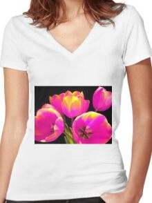 Colours Tulips Women's Fitted V-Neck T-Shirt