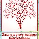 Christmas card with rainbow star background and red tree and birds by incurablehippie