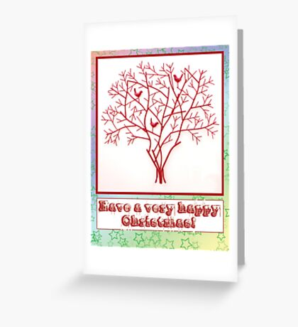 Christmas card with rainbow star background and red tree and birds Greeting Card