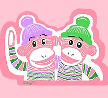 Pink, Purple, and Green Sock Monkeys by AbigailDavidson