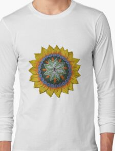 Sun Sunflower Mandala Original Print Design Long Sleeve T-Shirt