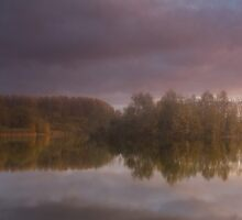 Golden light over the gravel pits by Andy Stafford
