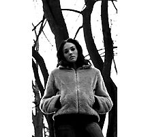 Beautiful dark girl in the forest. Photographic Print