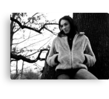 Beautiful brunette girl posing in the forest. Canvas Print