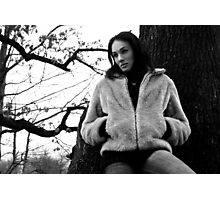 Beautiful brunette girl posing in the forest. Photographic Print