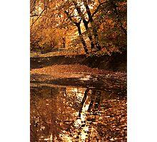 Autumn mirror lake. Photographic Print