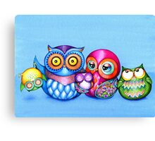 Funny Owl Family Portrait Canvas Print