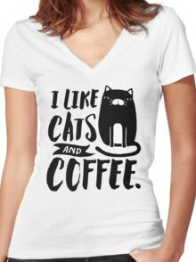 I Like Cats and Coffee Women's Fitted V-Neck T-Shirt