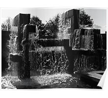 Cube Fountain in Seattle Poster