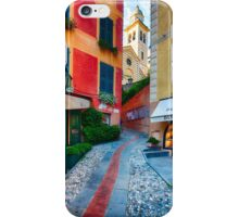 Narrow Street Leading Up to a Church in Portofino iPhone Case/Skin