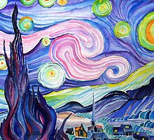 my  watercolor attempt at VanGogh's starry night....... by Kevin McGeeney