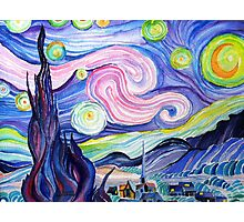 my  watercolor attempt at VanGogh's starry night....... Photographic Print