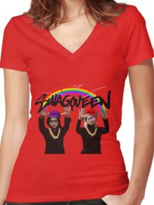 SwagQueen over the Rainbow Women's Fitted V-Neck T-Shirt