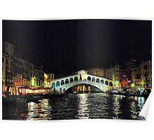 Ponte di Rialto di notte Poster