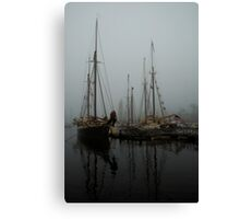 Fog Schooners Silhouettes And Reflections Camden Maine Canvas Print