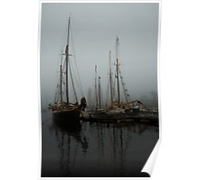 Fog Schooners Silhouettes And Reflections Camden Maine Poster