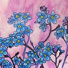 Forget-Me-Nots at Sunset by Alexandra Felgate