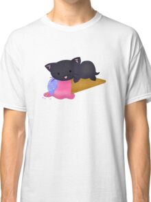 Kawaii Ice Cream Cat Black Classic T-Shirt