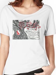 Wisdom of Trees - Red Raven Women's Relaxed Fit T-Shirt