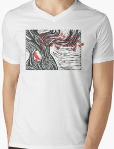 Wisdom of Trees - Red Raven Mens V-Neck T-Shirt