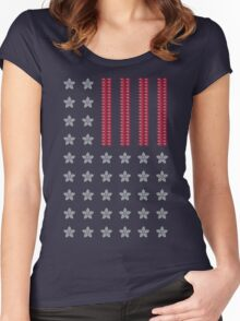 Diamond Stars and Ruby Stripes Flag Women's Fitted Scoop T-Shirt