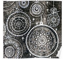 Xmas Baubles 2 -  Gelli Plate Print and Ink Poster