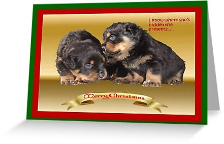 I Know Where She's Hidden The Presents Rottweiler Puppy Christmas Wishes by taiche