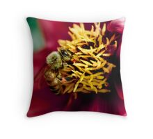 Dahlia bee Throw Pillow