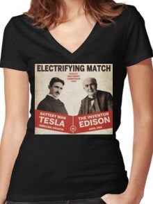 Edison vs Tesla Women's Fitted V-Neck T-Shirt