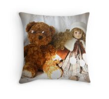 Curly Sue and Cheeky Ted looking at love through rose  tinted glasses Throw Pillow
