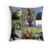 Alaska Wildlife Collage Throw Pillow