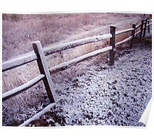 First Snow on Old Fence Poster