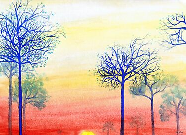 """Sunset with Blue Trees"" by Mui-Ling Teh"