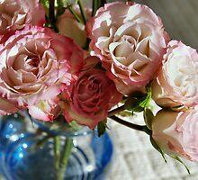 Pink Roses and Blue Vase by Pamela Chan