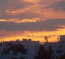 Red sky at night in Cala Egos by sarahwhite404