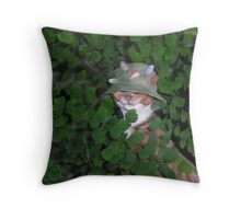 funny cat maybe hunting Throw Pillow
