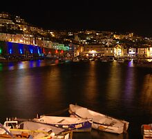 Brixham harbour by night by kingfisher