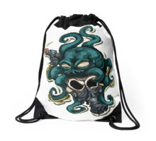 octopus with an laser gun!! Drawstring Bag