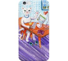 Elegant Miss Kitty at her computer iPhone Case/Skin