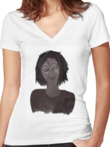portrait Women's Fitted V-Neck T-Shirt